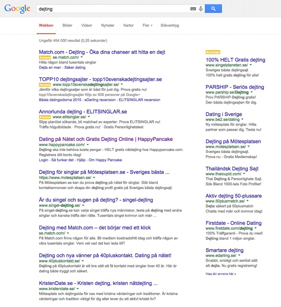 """Googlesökning på """"dejting"""""""